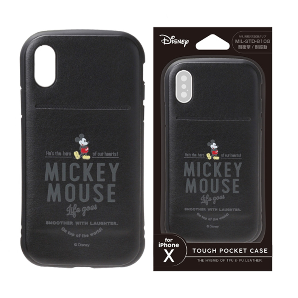 iPhone Xs/X 手機殼 迪士尼 軍規防撞/防摔 插卡 軟殼 5.8吋-米奇(黑)