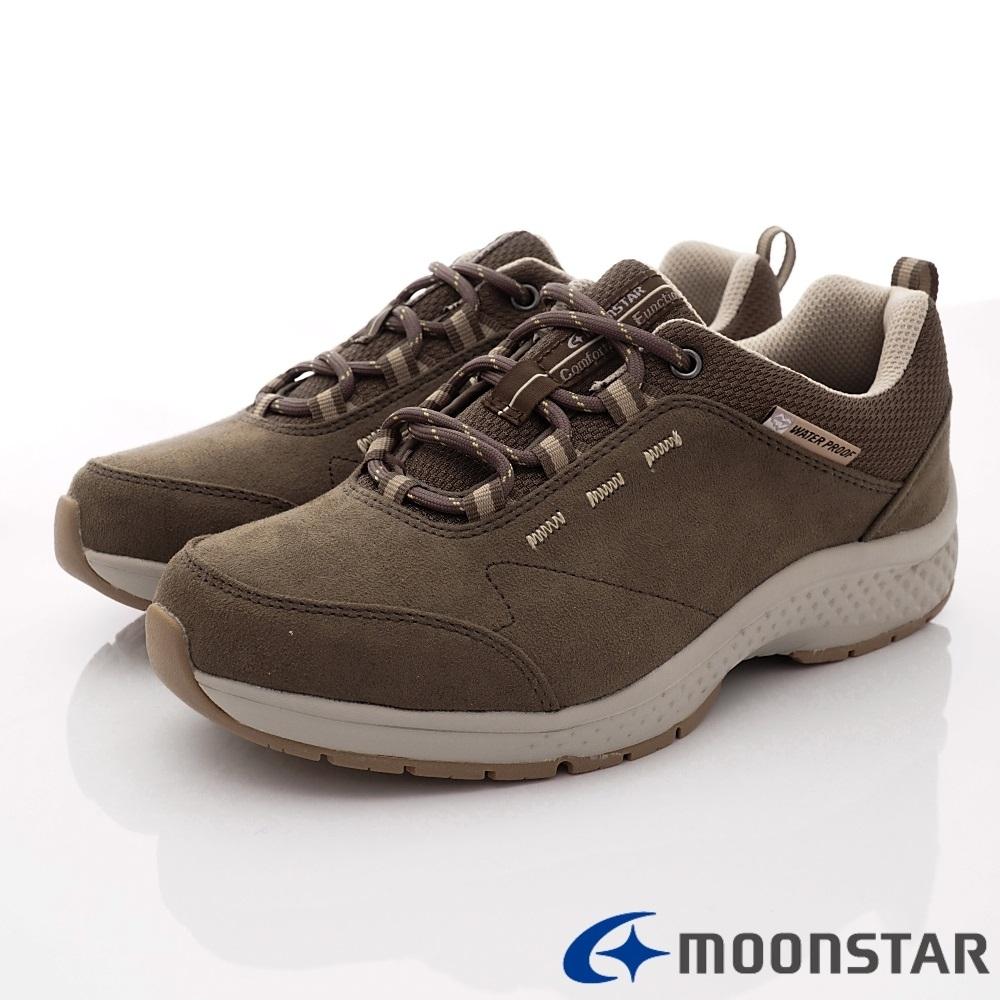 日本Moonstar戶外健走鞋-4E透氣厚底避震款 1723咖啡(女段)