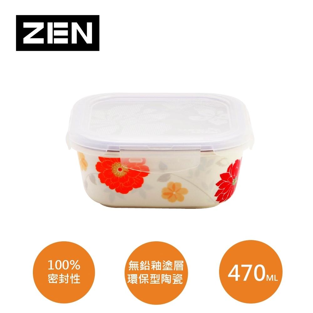 [ZEN HANKOOK ]山茶花陶瓷微波盒470ml(方型)