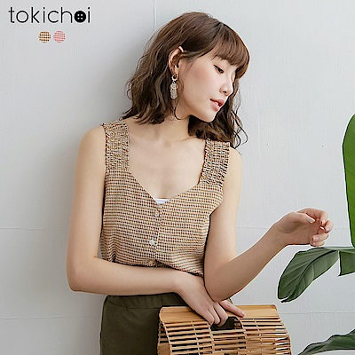 東京著衣 清新女孩格紋排扣粗肩帶上衣-S.M.L(共兩色)