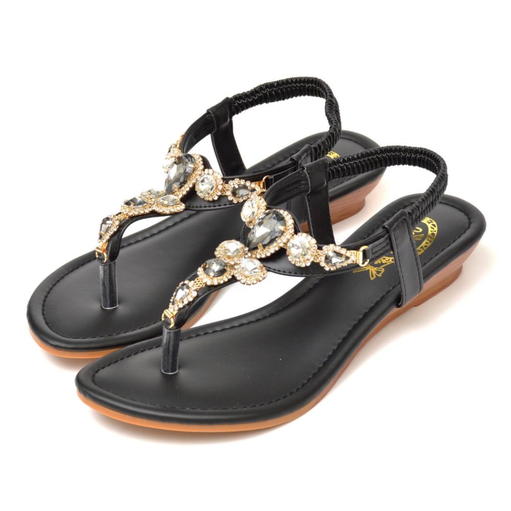 山打努SANDARU-涼鞋 寶石水鑽夾腳平底鞋 (黑)