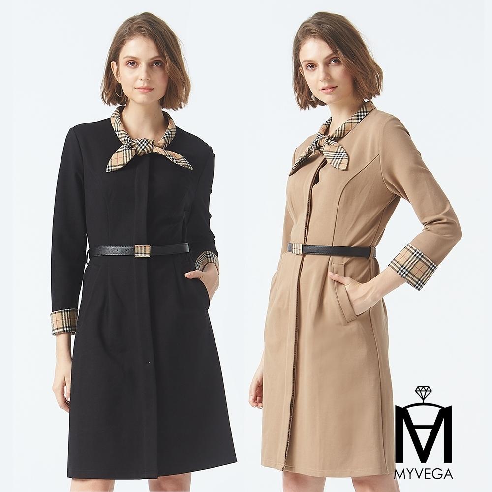 麥雪爾 MA領巾造型格紋拼接長洋裝-二色任選