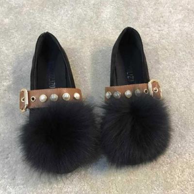 KEITH-WILL時尚鞋館 甜心英倫復古百搭毛毛平底鞋-黑色