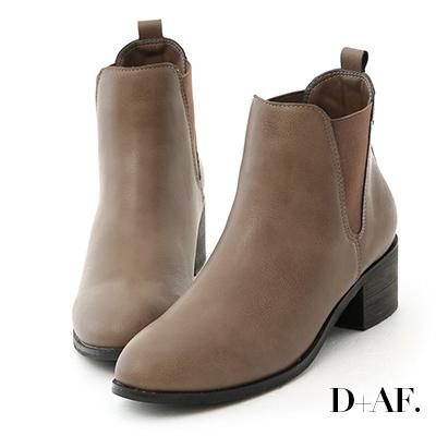 D+AF 品味首選.圓頭粗跟切爾西短靴*灰