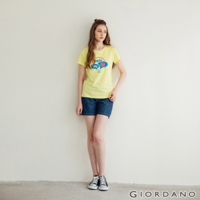 GIORDANO 女裝抽繩牛仔短褲 -47 深藍