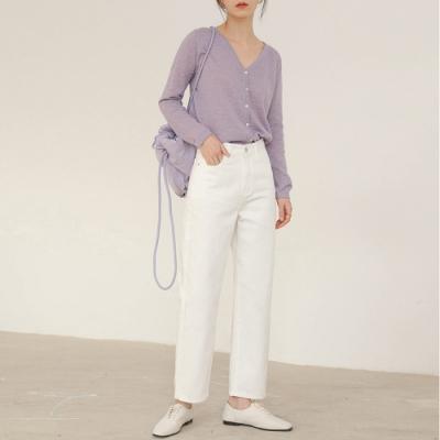 THG 韓版寬鬆顯瘦直筒高腰牛仔褲- 白色