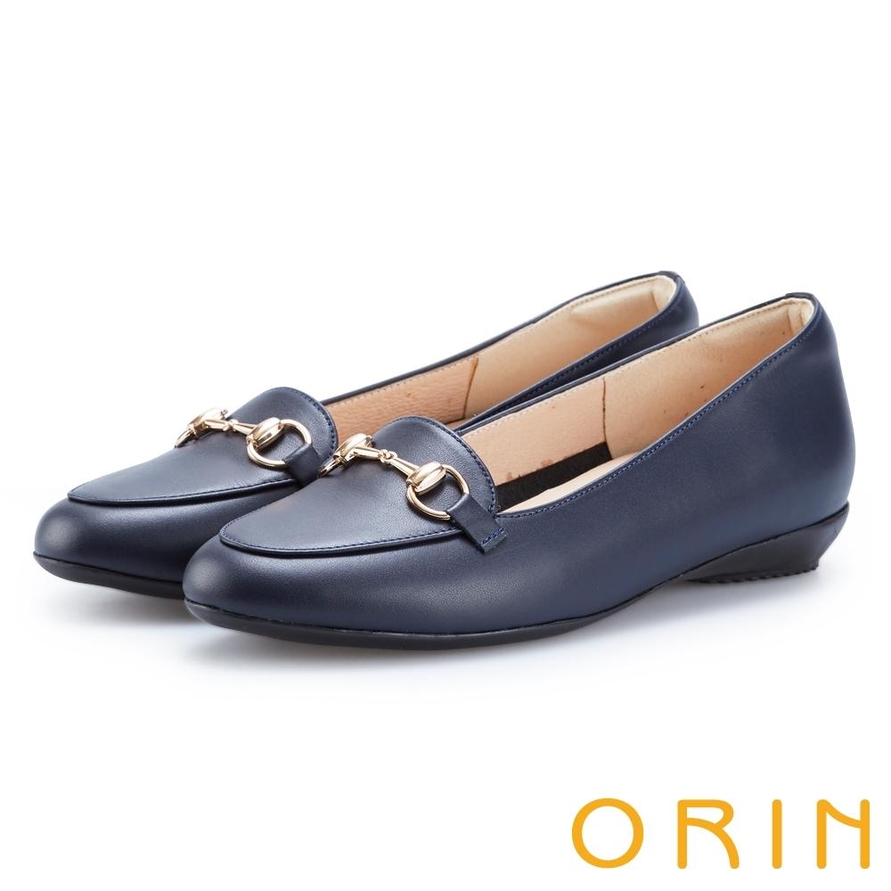 ORIN 氣質馬銜釦牛皮百搭 女 平底鞋 藍色