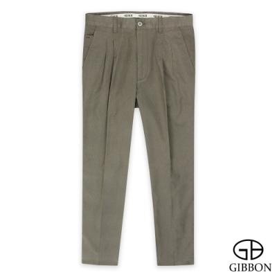 GIBBON 微彈舒棉打摺合身長褲‧咖啡色