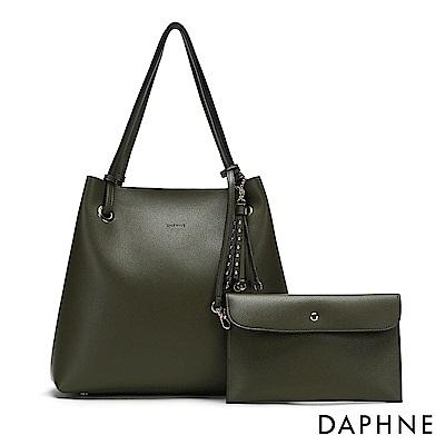 達芙妮DAPHNE-鉚釘流蘇肩背托特包-墨綠