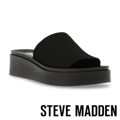 STEVE MADDEN-BALANCED 針織厚底平底拖鞋-黑色