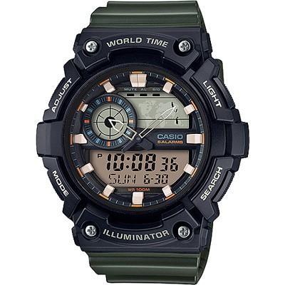 CASIO 世界時間指針數位雙顯錶款-墨綠色(AEQ-200W-3A)/51mm