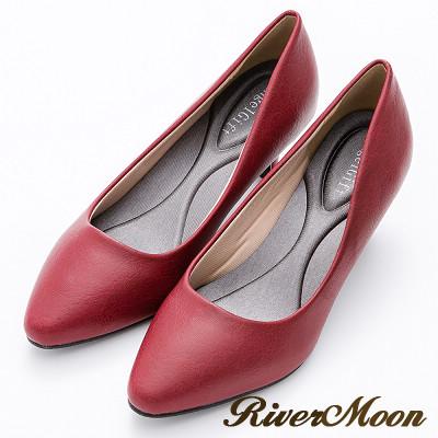 River&Moon百搭繽紛素面通勤記憶鞋墊尖頭跟鞋-酒紅