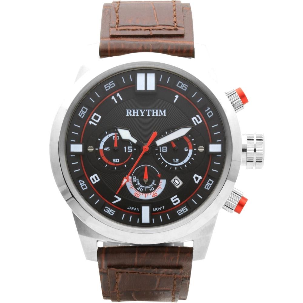 RHYTHM 日本麗聲 三眼計時手錶-48mm(SI1602L01)