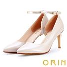 ORIN 時尚名媛 素面羊皮繫帶尖頭高跟鞋-粉色