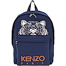 KENZO Neoprene Tiger 虎頭刺繡圖騰太空棉後背包(大/深藍)