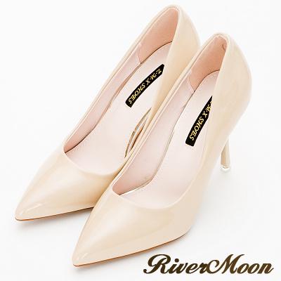 River&Moon跟鞋-素面亮皮尖頭高跟鞋-奶茶杏