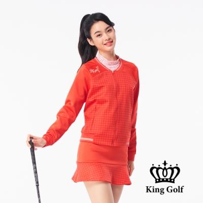 【KING GOLF】千鳥格壓拼接螺紋飛行外套-紅色