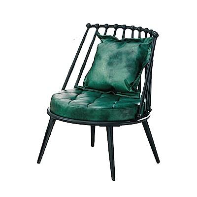 文創集 麥沛納工業風皮革單人座沙發椅-60x66.5x79cm免組