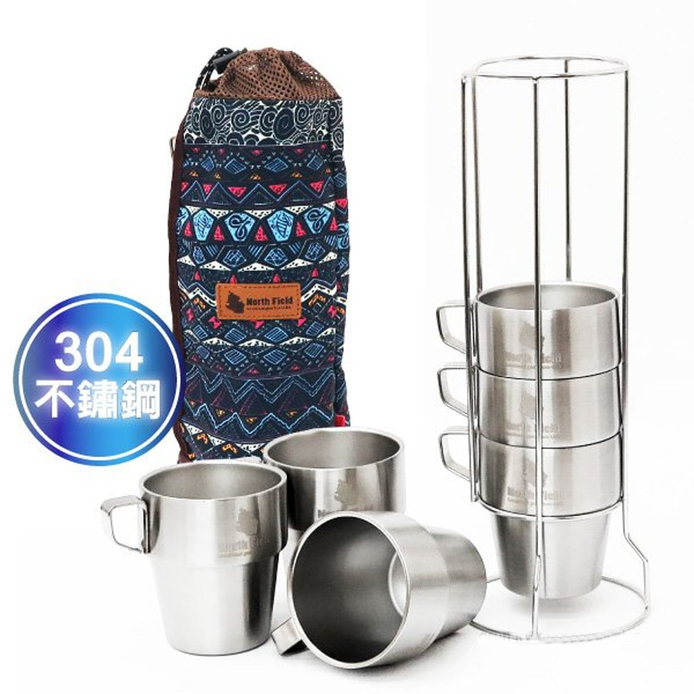 North Field 食品醫療級 304雙層不燙手不鏽鋼杯-300mlx6入(含袋+杯架)_達悟藍