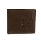 PLAYBOY- 基本短夾(附拉鍊零錢袋)   rabbithead系列-咖啡色
