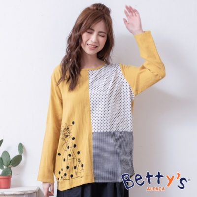 betty's貝蒂思 圓點格紋拼接上衣(黃色)
