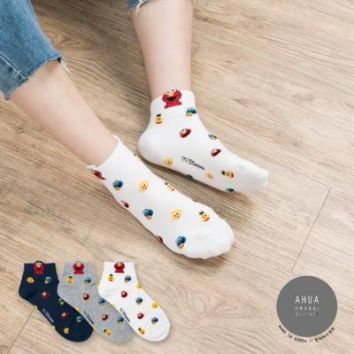 阿華有事嗎 韓國襪子 滿版芝麻街中短襪 韓妞必備短襪 正韓百搭卡通襪