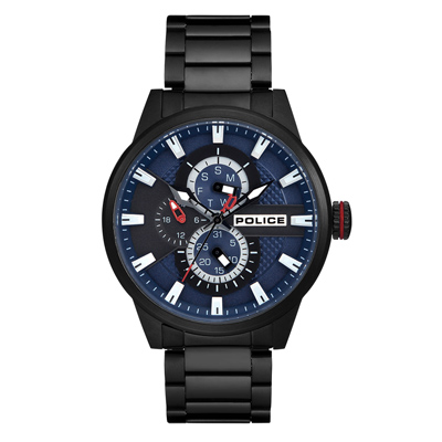 POLICE時空飛梭三眼多功能腕錶-黑(15509JSB-03M)-45mm