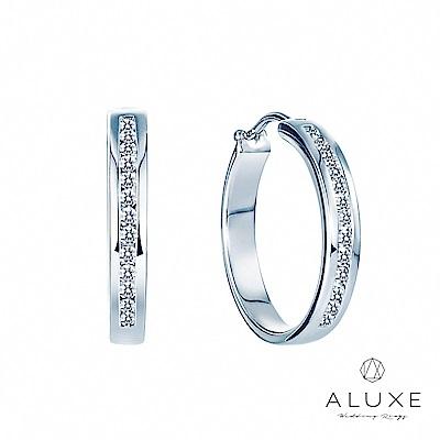 A-LUXE 亞立詩 18K金 The Classic 圈型時尚美鑽耳環