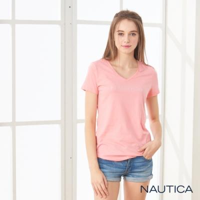 Nautica女裝品牌經典V領短袖棉TEE-粉色
