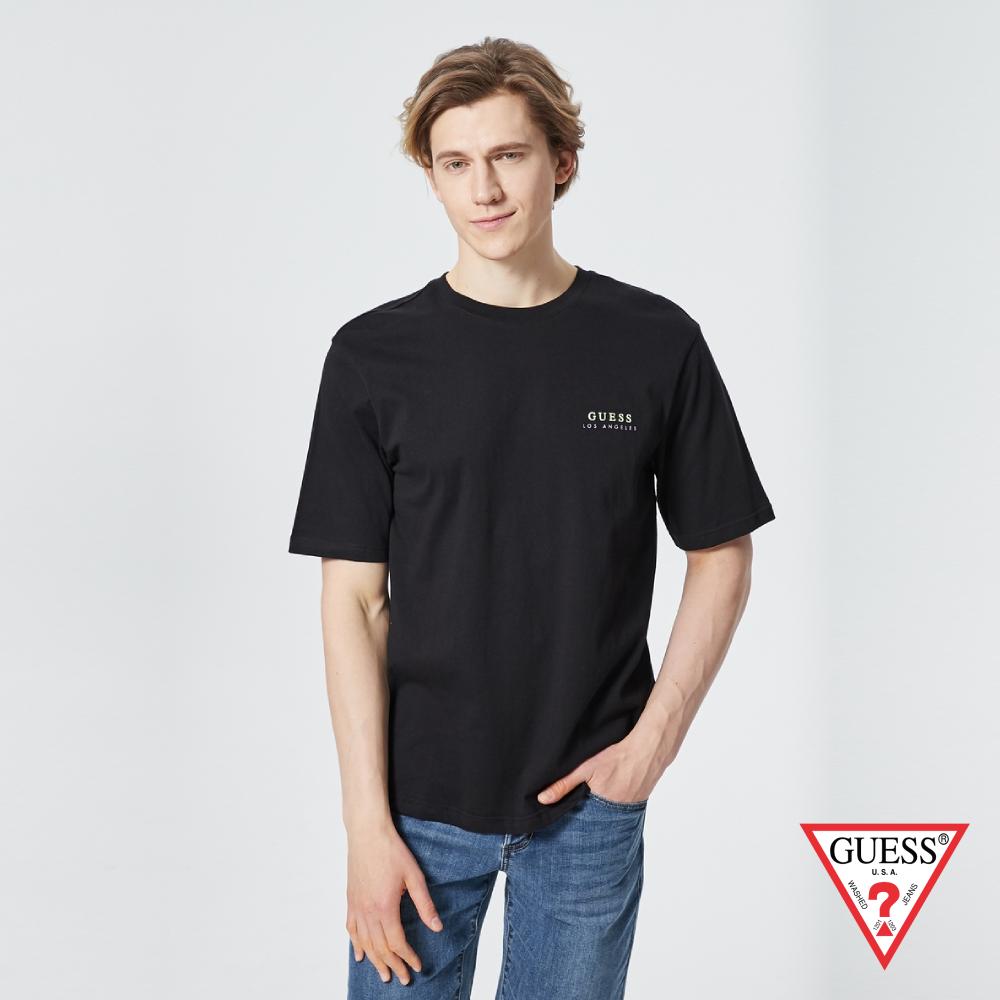 GUESS-男裝-前後草寫LOGO純棉短T,T恤-黑 原價1390