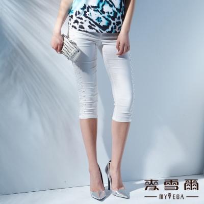 【麥雪爾】修身水鑽素色七分褲-白