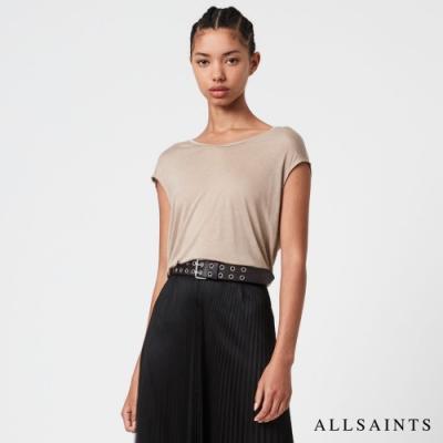 ALLSAINTS YASMINE 微透膚素面人造絲無袖T恤-膚粉