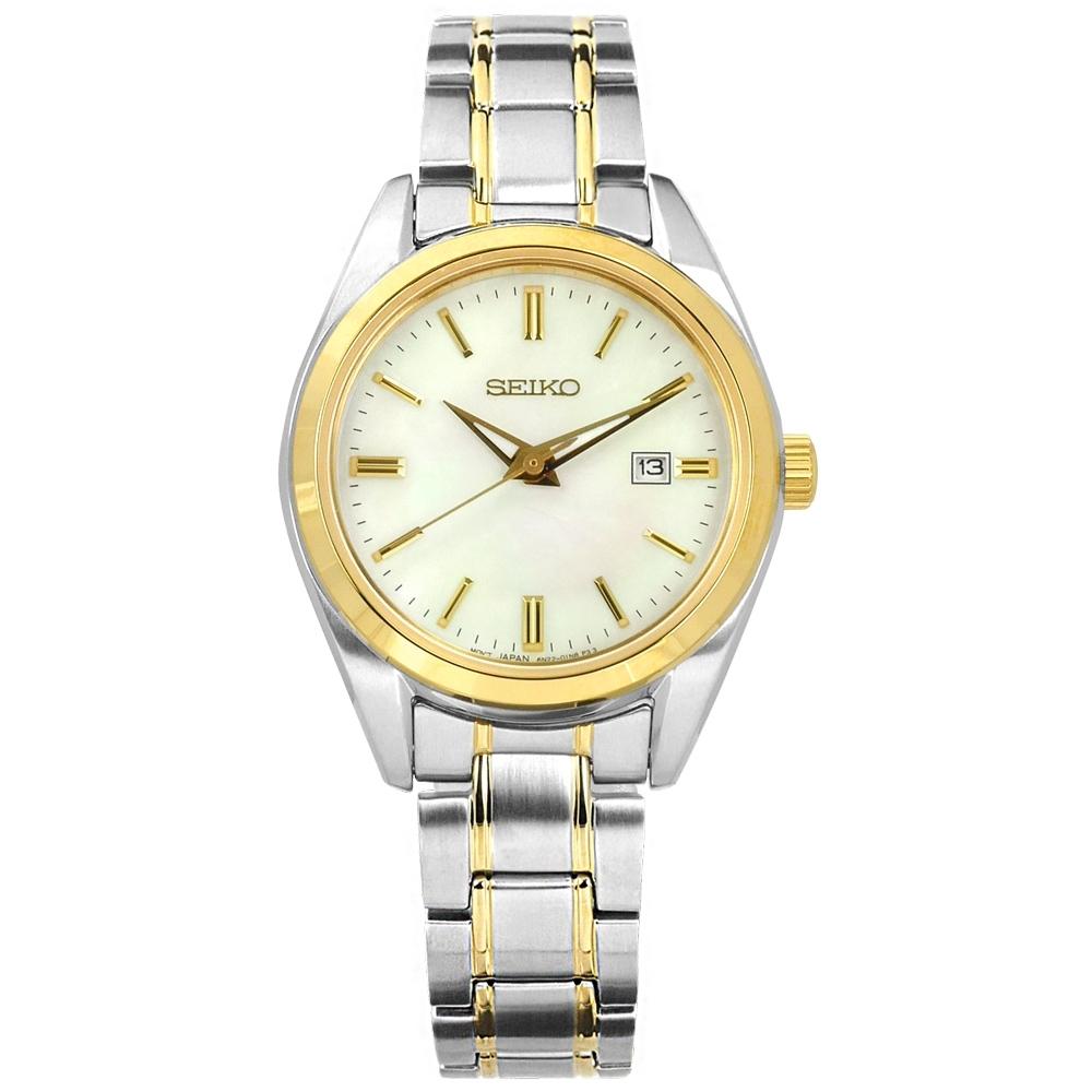 SEIKO 精工 簡約時尚 珍珠母貝 藍寶石水晶玻璃 日期 不鏽鋼手錶-銀白x鍍金 30mm