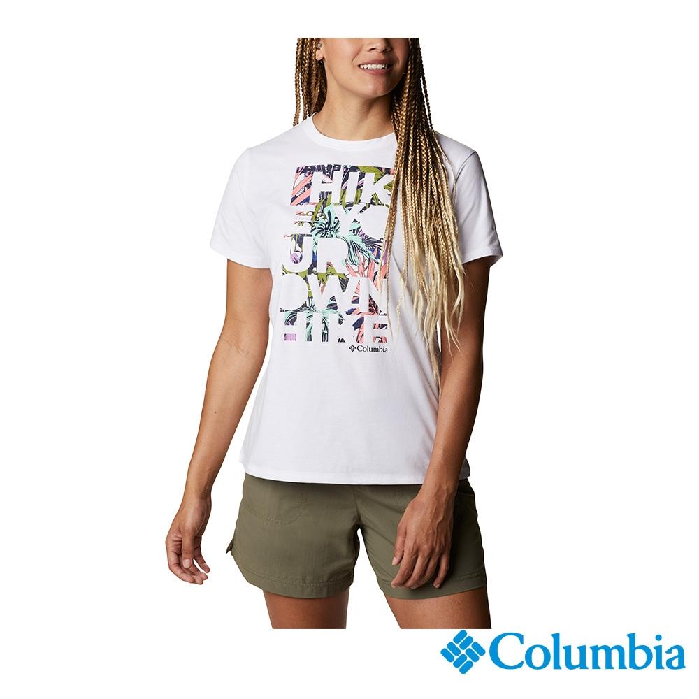 Columbia 哥倫比亞 女款- UPF50快排LOGO短袖上衣-5色  UAR21910 (白印花)