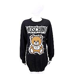 MOSCHINO 別針泰迪熊印花黑色長版羊毛衫