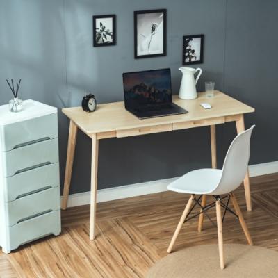 [買就送單椅] 樂嫚妮 簡約雙抽屜工作桌/書桌/辦公桌-寬120深55高74cm-原木色