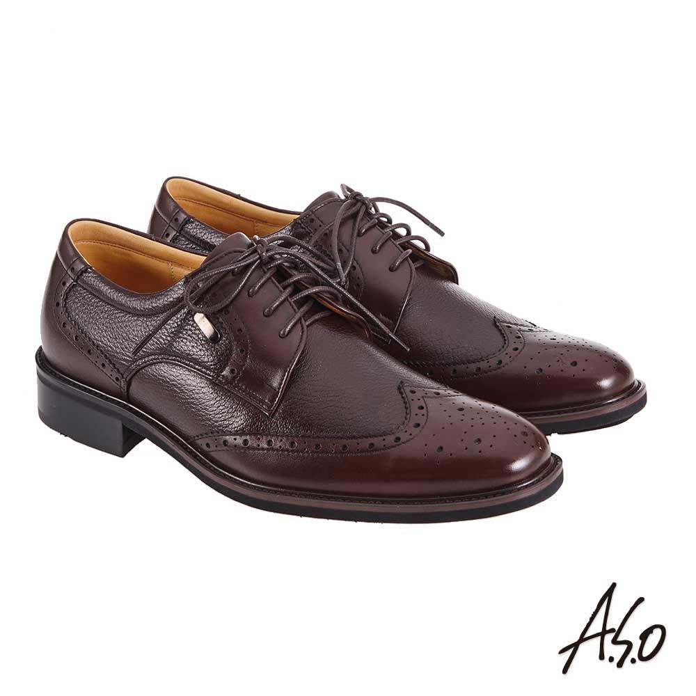 A.S.O 職場通勤 萬步健康鞋 異材質搭配紳士鞋-咖啡