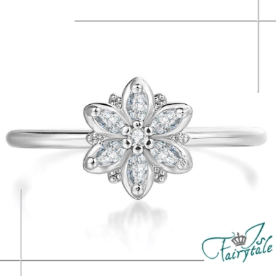 iSFairytale 伊飾童話 璀璨花漾 白晶碎鑽銀細戒指 尺寸可選