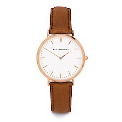 Elie Beaumont 英國時尚手錶 牛津系列 白錶盤x棕色皮革錶帶x玫瑰金框38mm