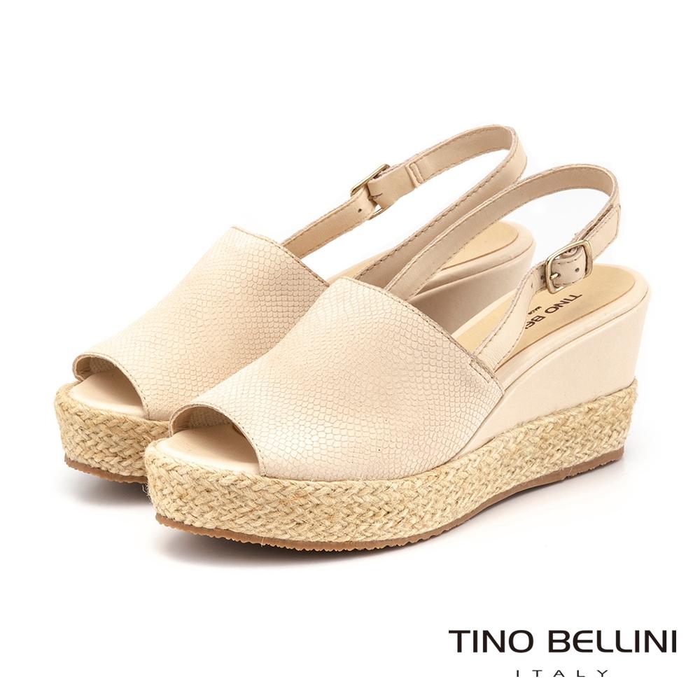 Tino Bellini巴西進口蛇紋魚口麻編楔型涼鞋_米白