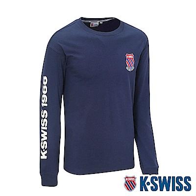 K-SWISS Heritage Round Tee印花長袖T恤-男-深藍