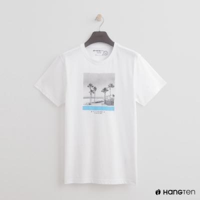 Hang Ten - 男裝 - 有機棉-簡約椰子樹造型短T- 白