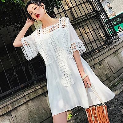 縷空緹花拼接雪紡方領洋裝-(白色)Andstyle