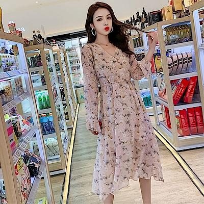 DABI 韓系優雅淑女小碎花印花雪紡長版長袖洋裝