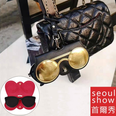 seoul show首爾秀  黑金圓眼鏡外掛墨鏡收納包光學眼鏡保護夾太陽眼鏡盒