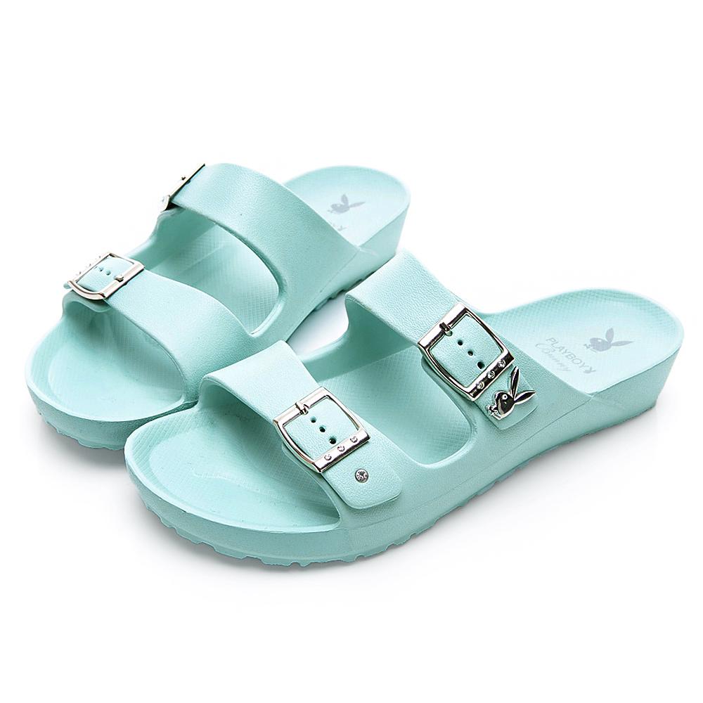 PLAYBOY 水鑽雙帶輕盈休閒拖鞋-綠-YT510DD