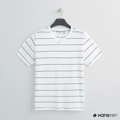 Hang Ten - 男裝 - 有機棉-簡約小開襟T桖 - 條紋