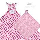 美國 Angel Dear 大頭動物嬰兒毛毯 (粉紅斑馬)