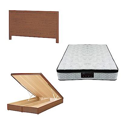 綠活居 梅可6尺雙人加大床台三式組合(床頭片+後掀床底+正三線涼感獨立筒)五色可選
