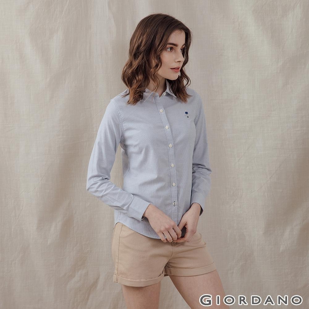 GIORDANO 女裝四季百搭彈力牛津紡襯衫 - 14 藍X白